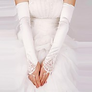 Opera Length Fingerless Glove - Satin/Lace Bridal Gloves