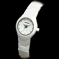 Women's Waterproof Round Dial Ceramic Band Quartz Analog Wrist Watch