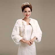 Fur Wraps / Wedding  Wraps / Fur Coats Coats/Jackets 3/4-Length Sleeve Faux Fur Ivory Wedding / Party/Evening Open Front