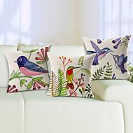 set om 3 levande fåglar bomull / linne dekorativa örngott