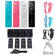 4 x batería& muelle de la estación del cargador + control remoto y nunchuk para Nintendo Wii