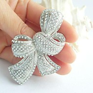 Women's Trendy Alloy Silver-tone Rhinestone Crystal Bowknot Wedding Bridal Brooch