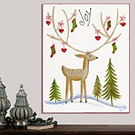 Christmas Decoration Stretched Canvas Print Art Cartoon Reindeer Joy by Beverly Johnston