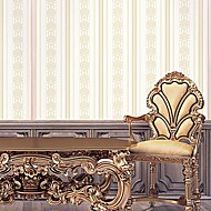 Wall Paper Wallcovering,  European Style High Foaming Striped Classic Flower Non-woven Wall Paper