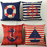 Set of 4 Nautical Pattern Cotton/Linen Decorative Pillow Cover