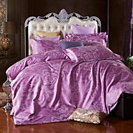 Leaf Faux Silk 4 Piece Duvet Cover Sets