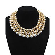 strati di lusso delle donne tessuta perle Collana bib