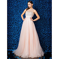 TS Couture® Black Tie Gala Dress Plus Size / Petite A-line Jewel Floor-length Tulle with Beading