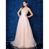 Black Tie Gala Dress - Plus Size / Petite A-line Jewel Floor-length Tulle