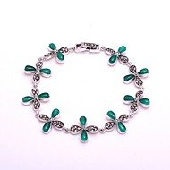 AS 925 Silver Jewelry   Clover Green Agate Bracelet