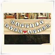"""bryllupet innredning """"lykkelig alle sine dager"""" populære vintage banner kranser partiet dekor"""