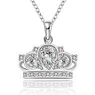 Cremation Jewelry 925 sterling silver Imperial Crown with Zircon Pendant Necklace for Women