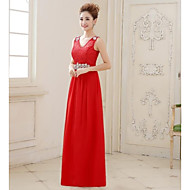 Formal Evening Dress - Fuchsia/Ruby/Pearl Pink Plus Sizes A-line V-neck Floor-length Lace/Georgette