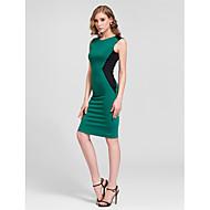 Cocktail Party Dress - Ruby/Ocean Blue Sheath/Column Jewel Knee-length Cotton