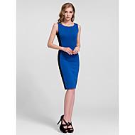Cocktail Party Dress - Ruby/Royal Blue Sheath/Column Jewel Knee-length Cotton