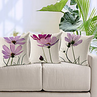 Algodón/Lino Cobertor de Cojín , Floral Moderno/Contemporáneo
