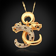 U7® Cool Leopard Pendant Double C Letters 18K Real Gold Plated Rhinestone Choker Necklace Men's Jewelry