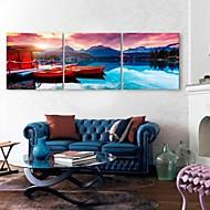 e-HOME lona envuelta arte de la casa del lago y la decoración del barco pintura conjunto de 3