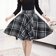 Women's Green/Orange/Gray Skirts , Casual Knee-length