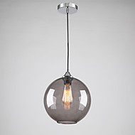 Modern Glass Pendant Light in Round Smoke grey Bubble Design