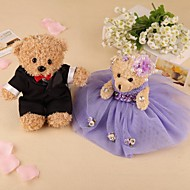 A Pair of Long Ribbon Sitting Stuffed Bear-Set of 2