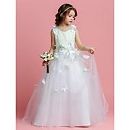 Lanting Bride A-line / Princess Sweep / Brush Train Flower Girl Dress - Satin / Tulle Sleeveless Jewel with Beading / Flower(s)
