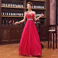 Formal Evening Dress - Fuchsia Plus Sizes A-line One Shoulder Floor-length Satin