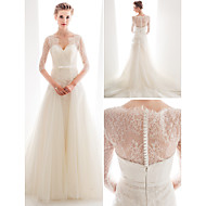 Lan Ting Dress - Ivory A-line/Princess Sweetheart Chapel Train Tulle / Lace