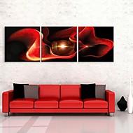 E-Home® Leinwand Art Zusammenfassung der roten Rose Dekoration Malerei Set von 3