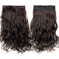 24 אינץ '120g קליפ ארוך וכהה חום חום עמיד סיבים סינטטיים מתולתל בתוספות שיער עם 5 קליפים