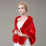 Fur Wraps / Wedding  Wraps Shawls Sleeveless Faux Fur Ivory / Ruby Wedding / Party/Evening Feathers / fur Open Front