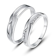 Personalized Gift Simple 925 Sterling Silver Couples Rings