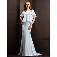 LAN TING BRIDE 시스 / 칼럼 웨딩 드레스 시쓰루 코트 트레인 쥬얼리 새틴 와 버튼