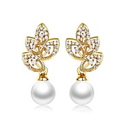 Drop Earrings Women's Brass Earring Pearl