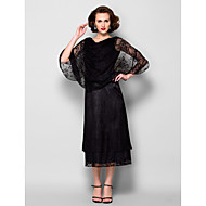 Sheath/Column Plus Sizes / Petite Mother of the Bride Dress - Black Tea-length Half Sleeve Lace