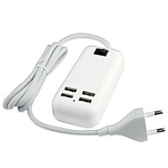 4 USB-port ac oplader adapter til iPad / iPhone / samsung (15W DC5V 6a, 100 ~ 240v eu stik, 1,5 m)