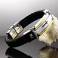 Cross of Faith Leather Woven Titanium Steel 24 K Gold Plated Men Leather Bracelet Jewelry Christmas Gifts