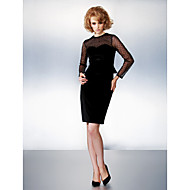Dress - Plus Size / Petite Sheath/Column Jewel Knee-length Velvet