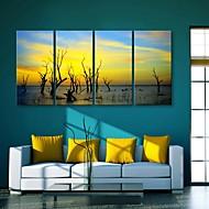 E-Home® Leinwand Kunst Dämmerung dekorative Malerei Set von 4