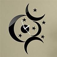 """18 """"H μοντέρνο στυλ μαύρο φεγγάρι αστέρια 3D DIY ακρυλικό καθρέφτη τοίχο διακόσμηση ρολόι σπίτι"""