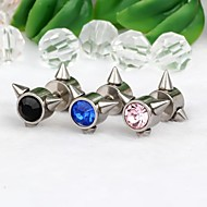 1Pair 9mm Triangle-Shaped Stainless Steel With Rhinestone Earrings(Random Colors)