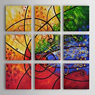 Oil Painting Modern Abstract Stained Glass Set of 9 Hand Painted Canvas with Stretched Frame