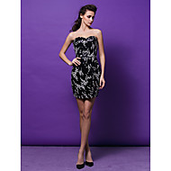 Cocktail Party Dress - Black Plus Sizes / Petite Sheath/Column Sweetheart Short/Mini Sequined