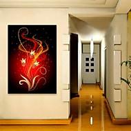 E-HOME® Stretched LED Canvas Print Art Red Flowers Flash Effect LED Flashing Optical Fiber Print