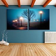 e-home® strukket ledet lerret kunst gatelykt flash effekt ledet blinkende optisk fiber print sett med 2
