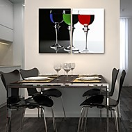 E-HOME® Stretched Canvas Art Wine Glass Decoration Painting Set of 2