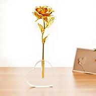 Valentinstag Geschenk 24k Goldfolie Rosen offen mit einer Basis