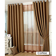 Room Darkening Faux Linen Jacquard Solid Curtain (Two Panels)