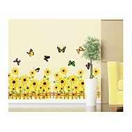 Wall Stickers Wall Decals, Style Sun Flower And Butterfly PVC Wall Stickers