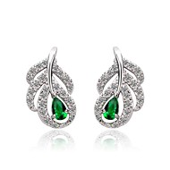 זהב לבן 18 קראט באופנה מצופה עגילי קריסטל cz ירוקים ברקת לנשים
